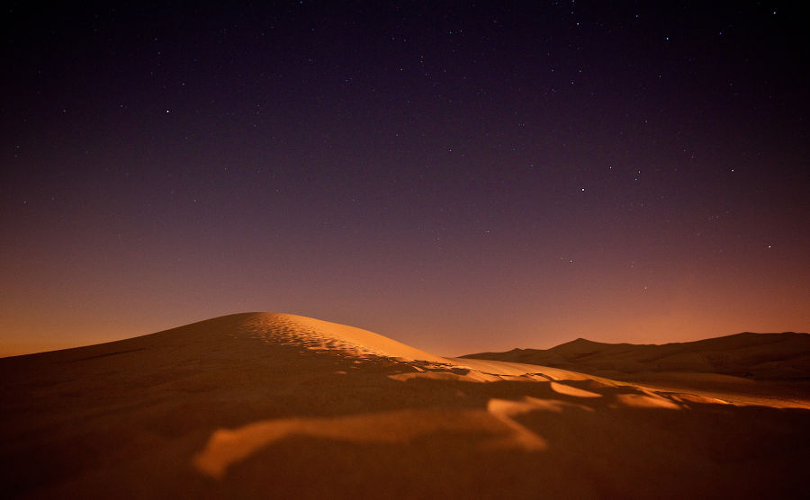 A dust-filled desert sky at night